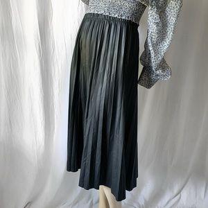 Faux Leather Pleated Midi Skirt NWT